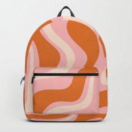 Liquid Swirl Retro Abstract Pattern in Pink Orange Cream Backpack