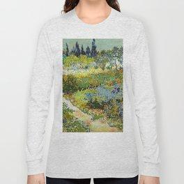 1888-Vincent van Gogh-Garden at Arles, Flowering Garden with Path-88x102 Long Sleeve T-shirt