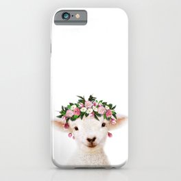 Baby Lamb With Flower Crown, Baby Animals Art Print By Synplus iPhone Case