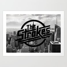 The Strokes Logo New York Black And White Art Print