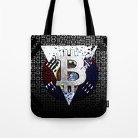 korea Tote Bags featuring bitcoin south korea by seb mcnulty