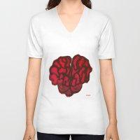 brain V-neck T-shirts featuring Brain by Myles Hunt