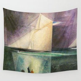 Sailing Yachts in Purple Twilight by Lyonel Feininger Wall Tapestry