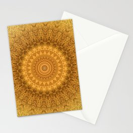 Sunflower Feather Bohemian Sun Ray Pattern \\ Aesthetic Vintage \\ Yellow Orange Color Scheme Stationery Cards