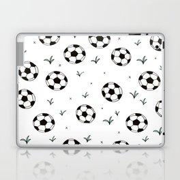 Fun grass and soccer ball sports illustration pattern Laptop & iPad Skin
