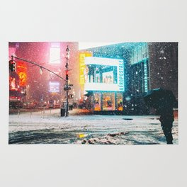 New York City Snow in Times Square Rug