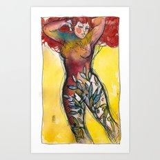 donna albero con capelli rossi Art Print