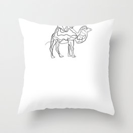 Camel - One Line Drawing Throw Pillow