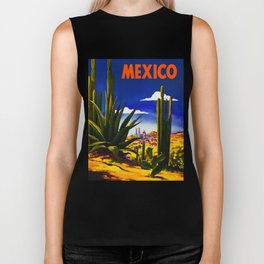 Vintage Mexico Village Travel Biker Tank