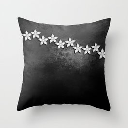 Spectacular silver flowers on black grunge texture Throw Pillow