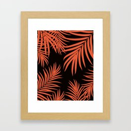 Palm Leaves Pattern Orange Vibes #1 #tropical #decor #art #society6 Framed Art Print