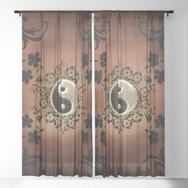 The sign ying and yang with flowers Sheer Curtain