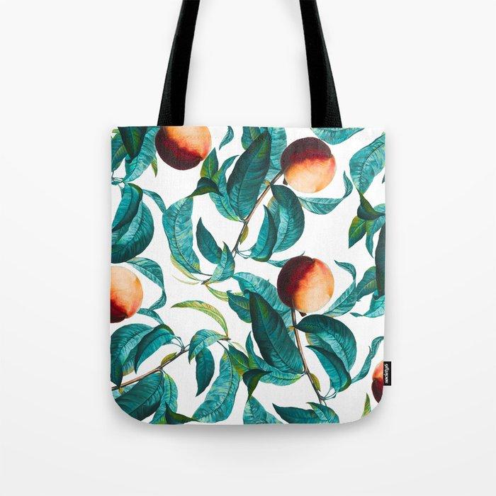 Fruit and Leaf Pattern Tote Bag