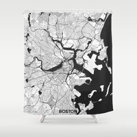 boston map Shower Curtains featuring Boston Map Gray by City Art Posters