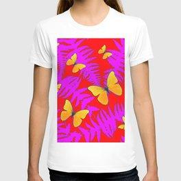 Modern RED Design  Fuchsia Fern Fronds With Yellow Butterflies T-shirt