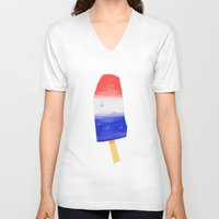 popsicle V-neck T-shirts featuring Popsicle by SLUGSPOON