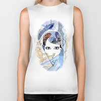 60s Biker Tanks featuring '60s Eyes Collage with White Background- High Saturation by Katy Rose