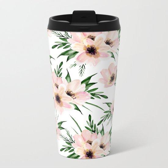 Pink bouquet. Watercolor Metal Travel Mug