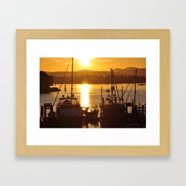 Sunset And The Boats Framed Art Print