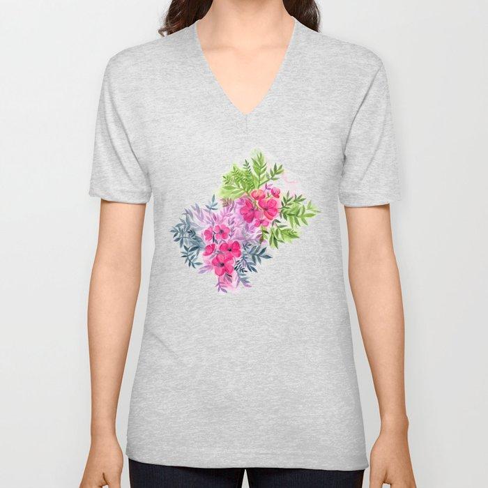 Dual Bouquets - a watercolor floral Unisex V-Neck