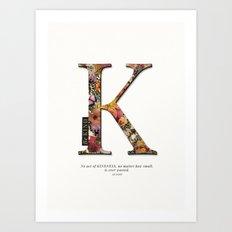 Floral letter K - Be KIND label text, Lo Lah Studio Art Print