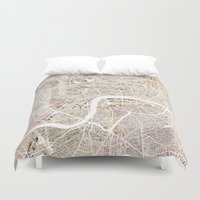 london map Duvet Covers featuring London map by Mapsland