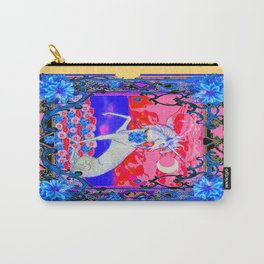 Blue Tropical Flowers Unicorn Fantasy design Carry-All Pouch