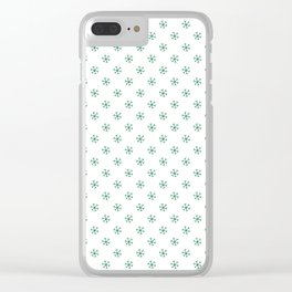 Cadmium Green on White Snowflakes Clear iPhone Case