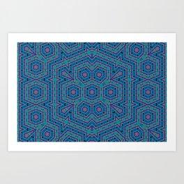 2106 Blue regulated chaos pattern Art Print