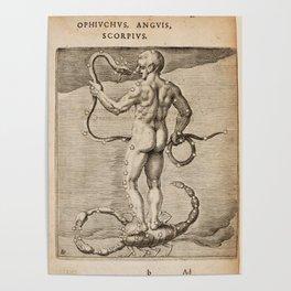 Hugo de Groot's Syntagma Arateorum 1600 - 04 Ophiuchus, Anguis (Serpens) & Scorpio Poster
