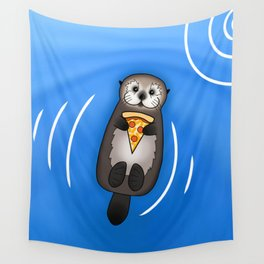 Sea Otter with Pizza Wall Tapestry