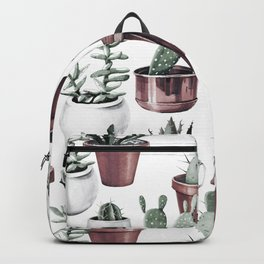 Happy Potted Cacti in Rose Gold Pots Backpack