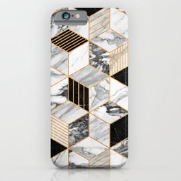 Marble Cubes 2 - Black and White iPhone Case