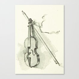 Violin, Vintage Old Book Illustration Canvas Print