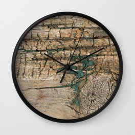 Rustic Wood Ages Gracefully - Beautiful Weathered Wooden Plank - knotty wood turquoise paint Wall Clock