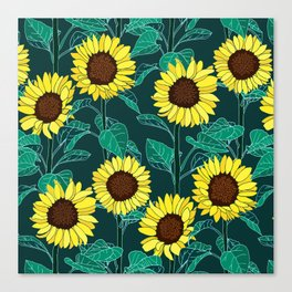 Sunny Sunflowers - Emerald Canvas Print