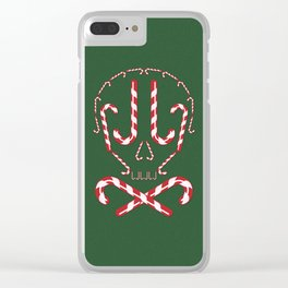 Candy Cane Holiday Skull Clear iPhone Case