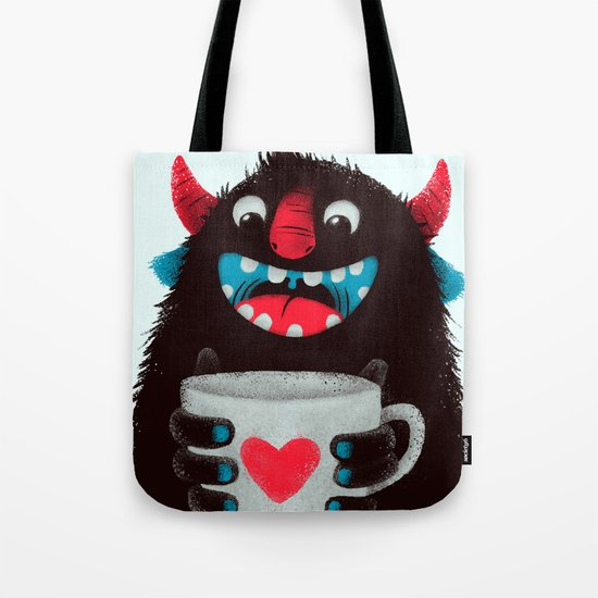Demon with a cup of coffee (contrast) Tote Bag