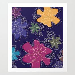 Floral - #Bright #Flowers #Abstract #Pattern Art Print