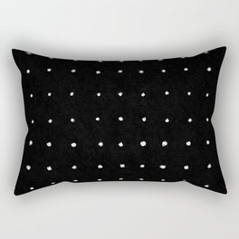 Dot Grid White on Black Rectangular Pillow