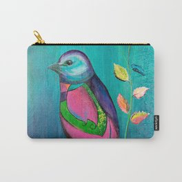 Colorful bird with roses Carry-All Pouch