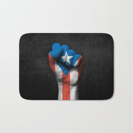 Puerto Rican Flag on a Raised Clenched Fist Bath Mat
