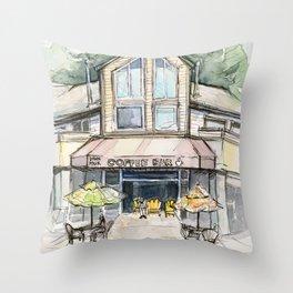 Coffee Shop Art Urban City Watercolor Throw Pillow