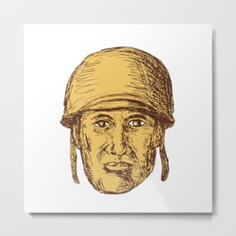 WW2 American Soldier Head Drawing Metal Print
