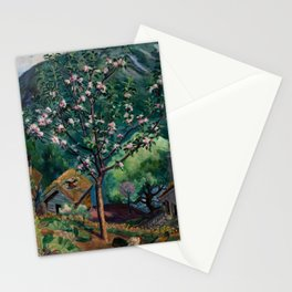 Apple Tree and Daffodils in Bloom alpine landscape painting by Nikolai Astrup Stationery Cards