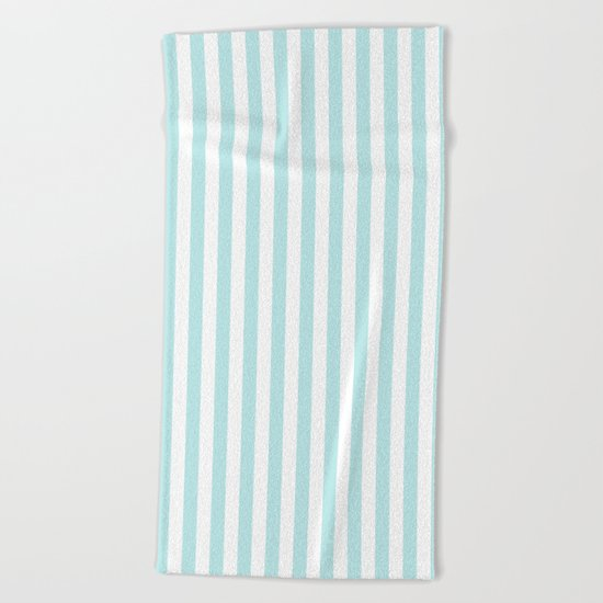 Striped- Turquoise vertikal stripes on white- Maritime Summer Beach Beach Towel
