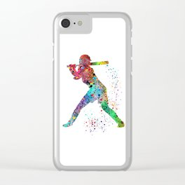Baseball Softball Player Sports Art Print Watercolor Print Girl's softball Clear iPhone Case