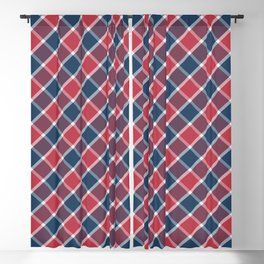 Nautical style check navy-red-purple Blackout Curtain