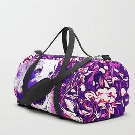 beagle dog flower field vector art purple Duffle Bag