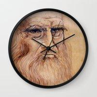 da vinci Wall Clocks featuring Leonardo Da Vinci by Michael Cu Fua